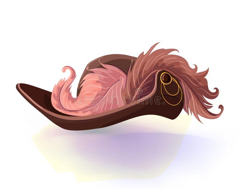 Sombrero del vintage del mosquetero o del pirata con la pluma aislada en el fondo blanco Ilustración del vector Hea de la mascara ilustración del vector