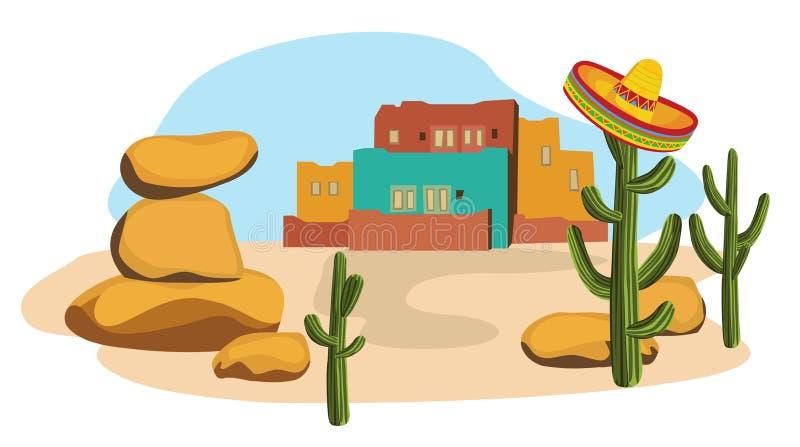 Sombrero en Cactus vector illustratie