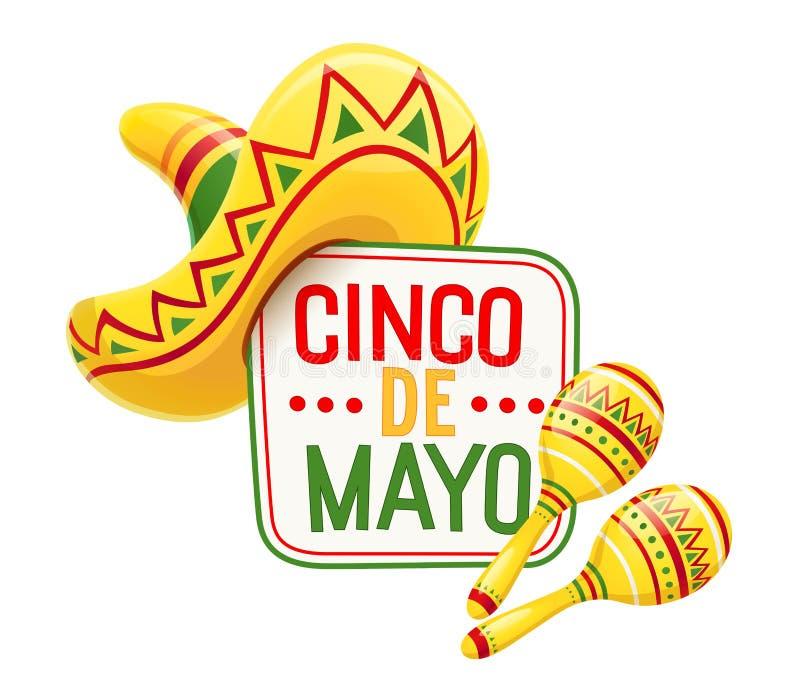 Sombrero en maracas voor Cinco de Mayo stock illustratie