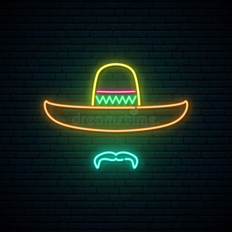 Sombrero en snor gloeiend neonteken op donkere bakstenen muurachtergrond vector illustratie