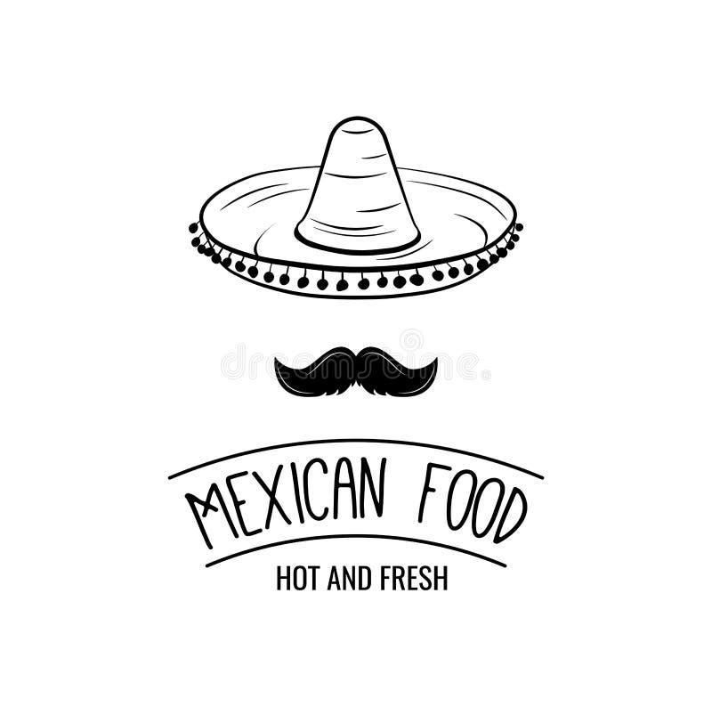 Sombrero en snor Mexicaans voedsel Mexicaanse traditionele keuken Vector illustratie stock illustratie