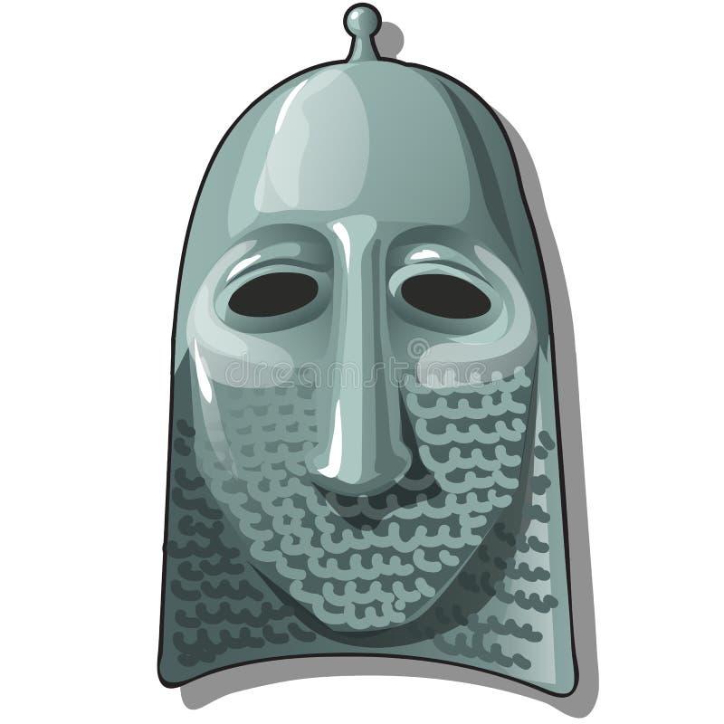 Sombrero eslavo o casco del guerrero con el hauberk o la armadura de cadena aislada en el fondo blanco Primer de la historieta de ilustración del vector