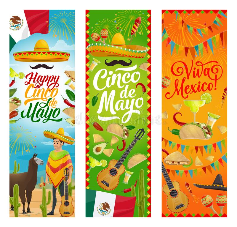Sombrero et guitare mexicains de Cinco de Mayo de vacances illustration de vecteur