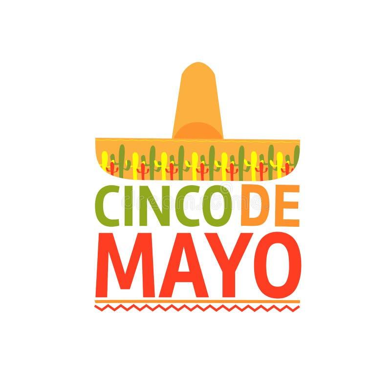 Sombrero för Cinco de Mayo emblemdesign - symboler av ferie bakgrund isolerad white vektor stock illustrationer