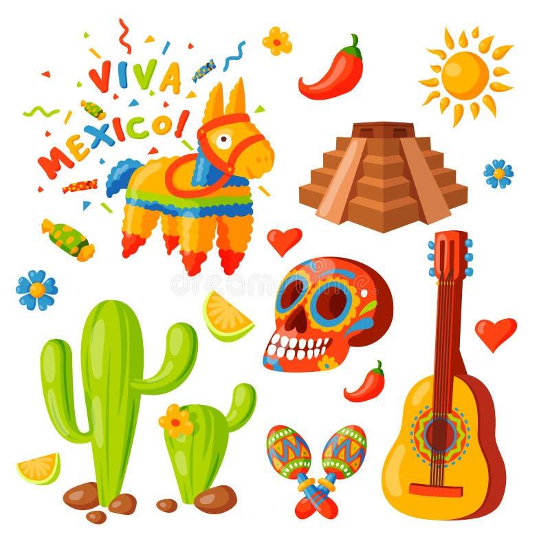 Sombrero för maraca för traditionell grafisk för lopp för illustration för Mexico symbolsvektor för tequila för alkohol för fiest stock illustrationer