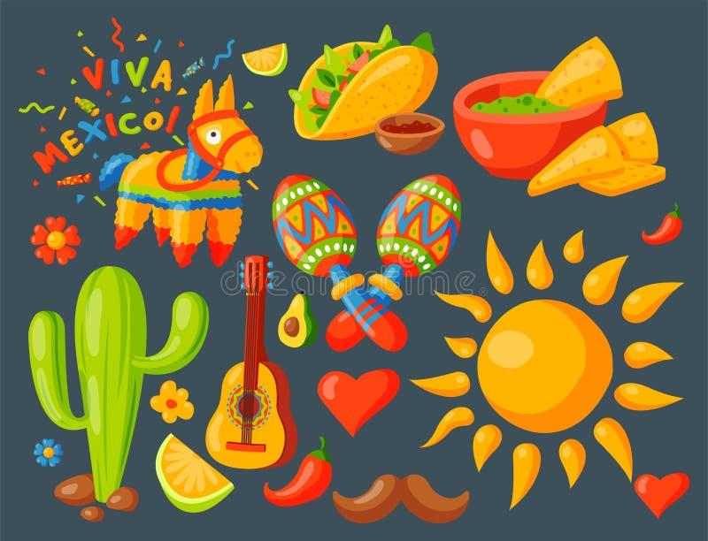 Sombrero för maraca för traditionell grafisk för lopp för illustration för Mexico symbolsvektor för tequila för alkohol för fiest vektor illustrationer