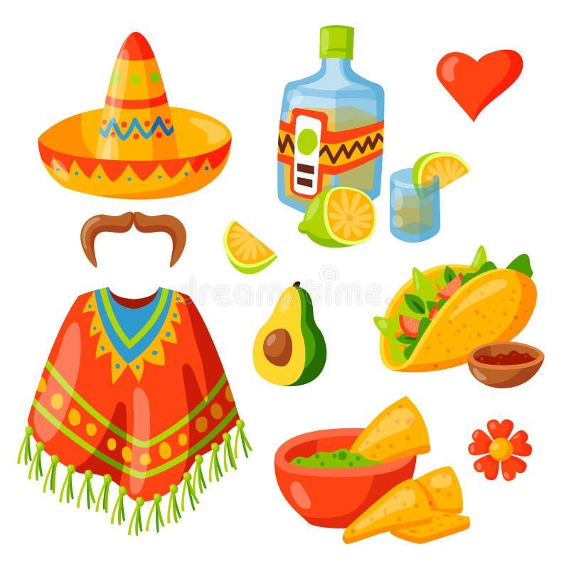 Sombrero för maraca för traditionell grafisk för lopp för Mexico symbolsillustration för tequila för alkohol för fiesta etnicitet vektor illustrationer