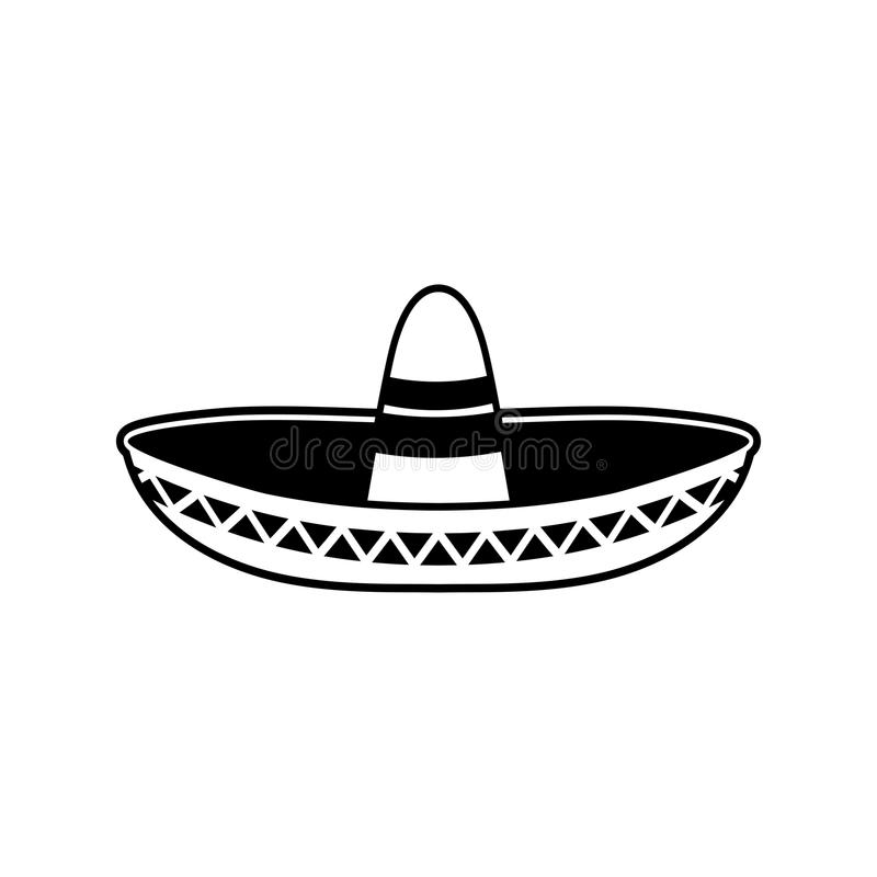 Sombrero flat icon. National Mexican hat. Cap in Mexico.  stock illustration
