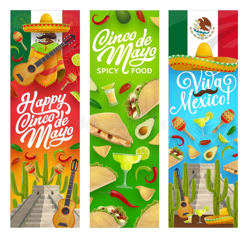 Sombrero, guitar, food and drink. Cinco de Mayo. Cinco de Mayo Mexican holiday vector greeting banners with fiesta party food, drinks, sombrero and guitar stock illustration