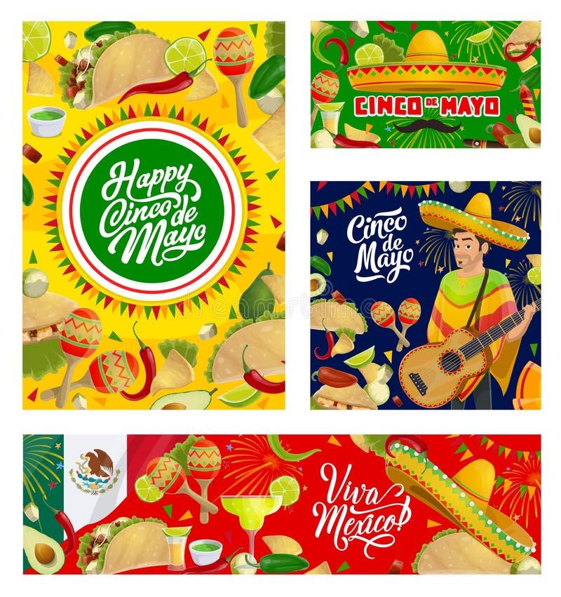 Sombrero, guitar, Mexican food. Cinco de Mayo. Cinco de Mayo Mexican holiday guitar, sombrero and fiesta party food vector greeting cards. Maracas, chilli tacos stock illustration