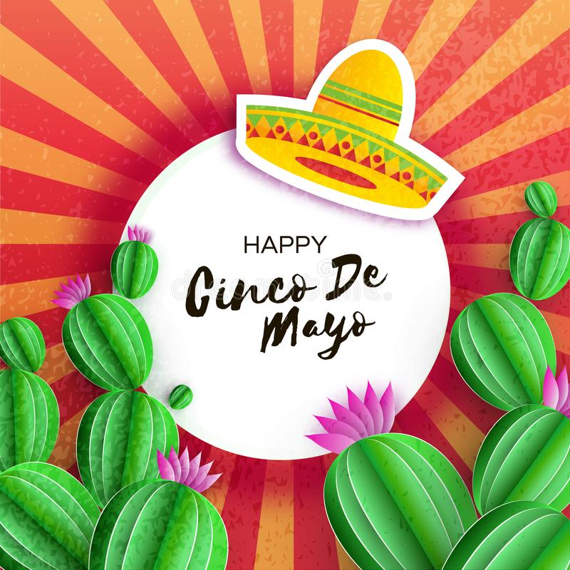 Sombrero hat, Cactus in paper cut style. Pink flowers. Happy Cinco de Mayo Greeting card. Mexico, Carnival. Circe frame royalty free illustration