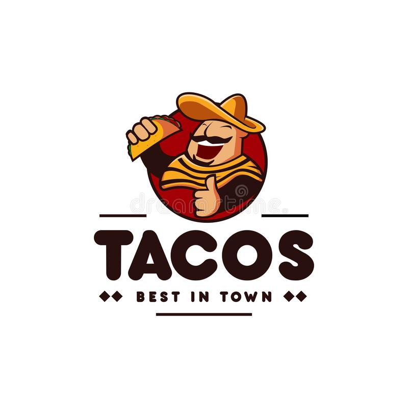 Sombrero hat mexican holding tacos mexican restaurant logo mascot hipster vintage retro character cartoon illustration royalty free illustration