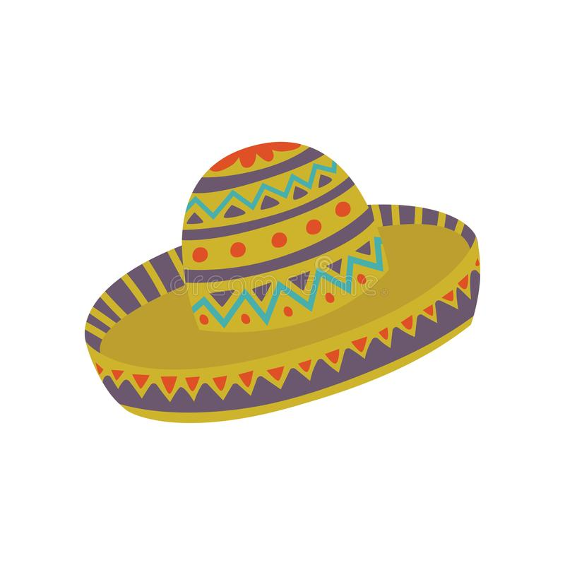 Sombrero hat with Mexican ornament cartoon vector Illustration. On a white background vector illustration
