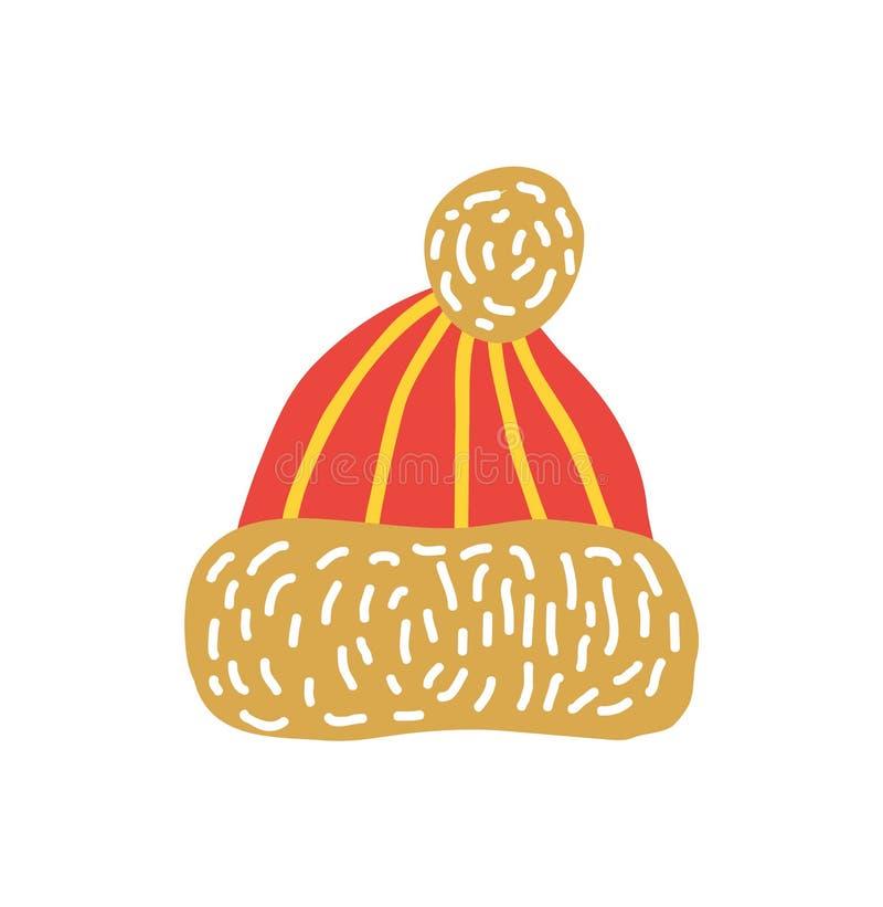 Sombrero hecho punto rojo con el ejemplo del vector del bubón stock de ilustración