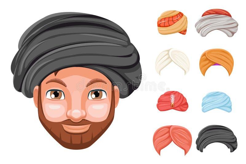 Sombrero hermoso lindo beduino de la cabeza del hombre del sultán sikh indio árabe de la cultura del tocado de la moda del turban ilustración del vector