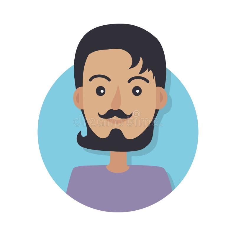 Sombrero Hombre joven sin el Headwear con el pelo oscuro ilustración del vector