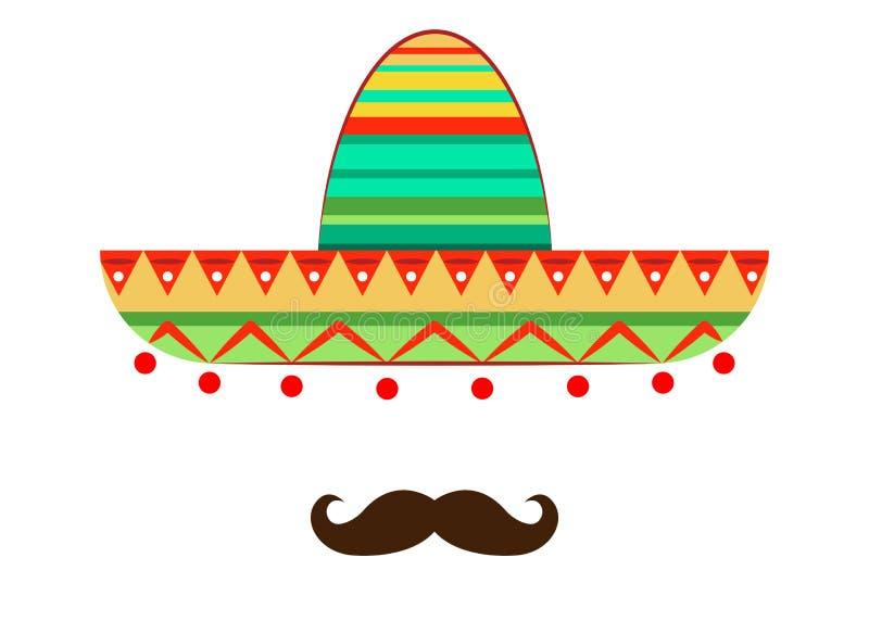 Sombrero i wąsy ikony szablon, wektor odizolowywający ilustracja wektor
