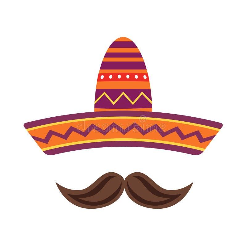 Sombrero i wąsy odizolowywający na białym tle