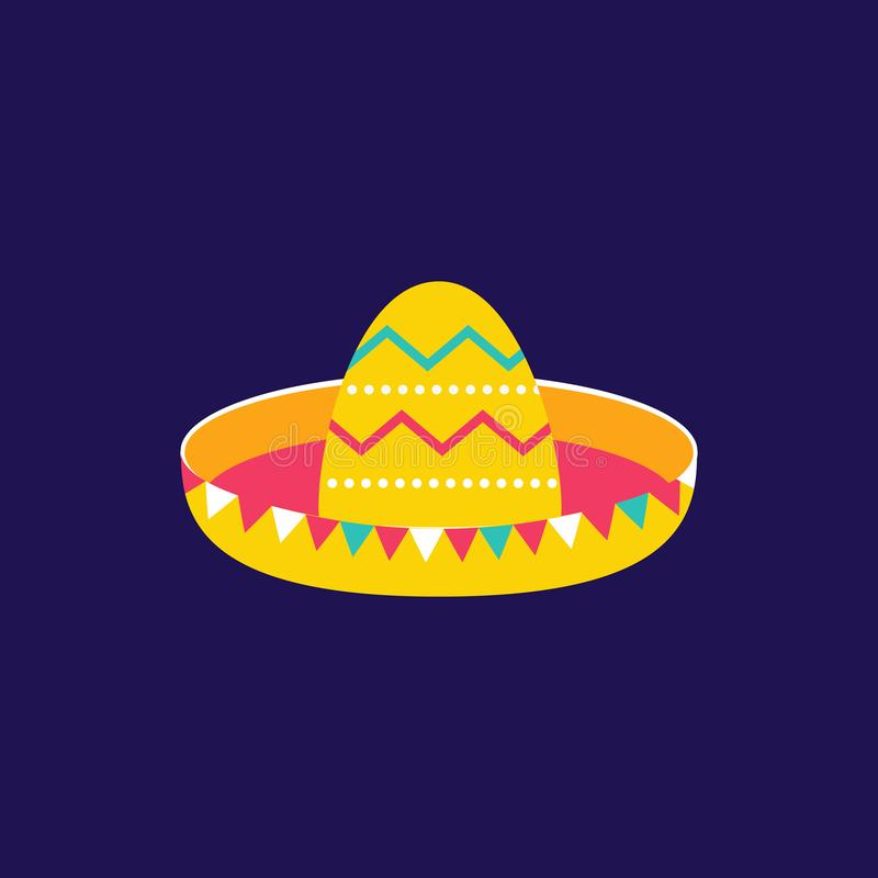 Sombrero icon flat style. Cinco de Mayo festival in Mexico. Artisan traditional ethnic symbol for Mexican parade stock illustration