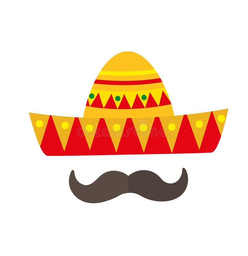 Sombrero ikona, mieszkanie styl Meksykańska tradycyjna odzież pojedynczy białe tło Wektorowa ilustracja, sztuka ilustracji