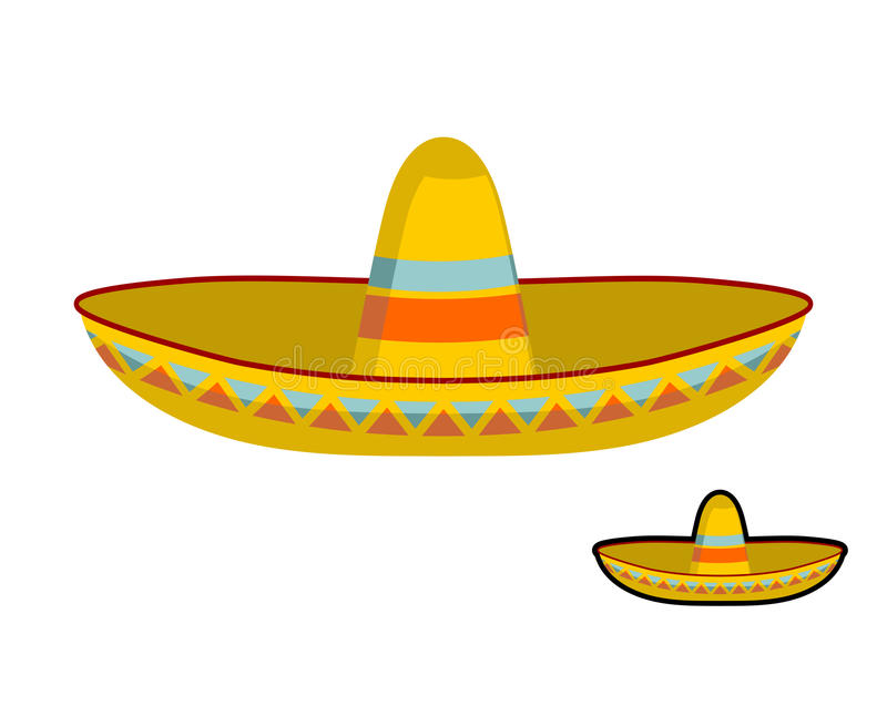 Sombrero isolated. Colorful Mexican hat ornament. National cap M. Exico stock illustration