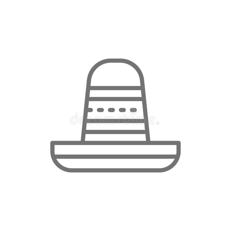 Sombrero linje symbol för mexikansk hatt royaltyfri illustrationer