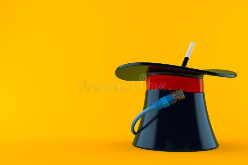 Sombrero mágico con el cable de la red ilustración del vector