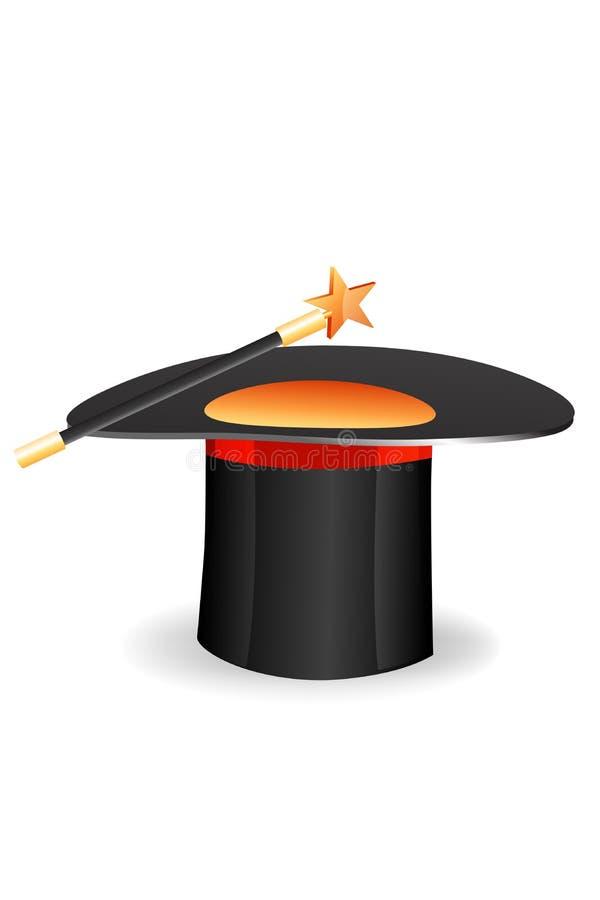 Sombrero mágico con el palillo y la estrella stock de ilustración