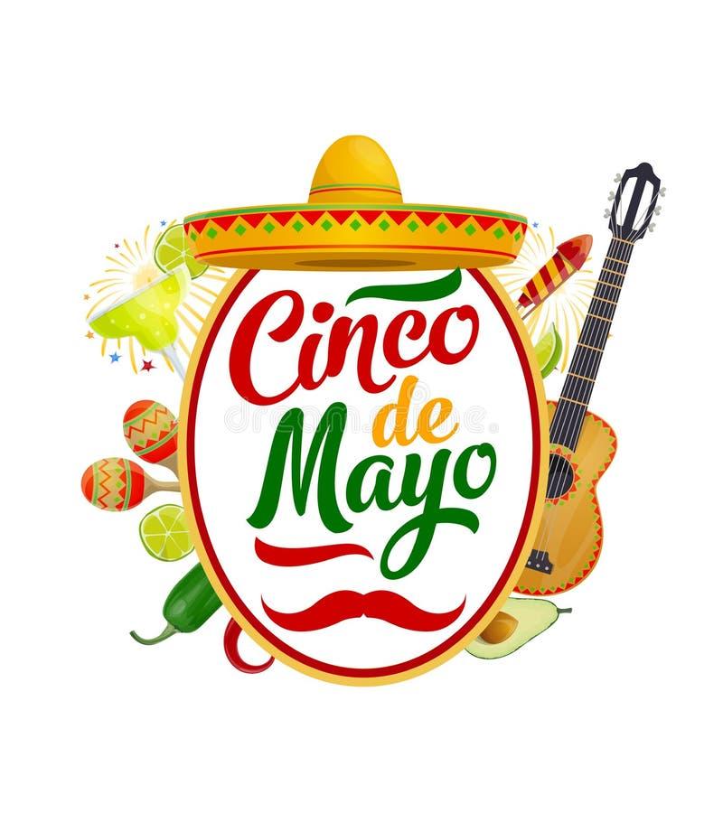 Sombrero, maracas, guitar. Mexican Cinco de Mayo. Cinco de Mayo Mexican holiday sombrero, guitar and maracas vector greeting card. Fiesta party mariachi hat stock illustration