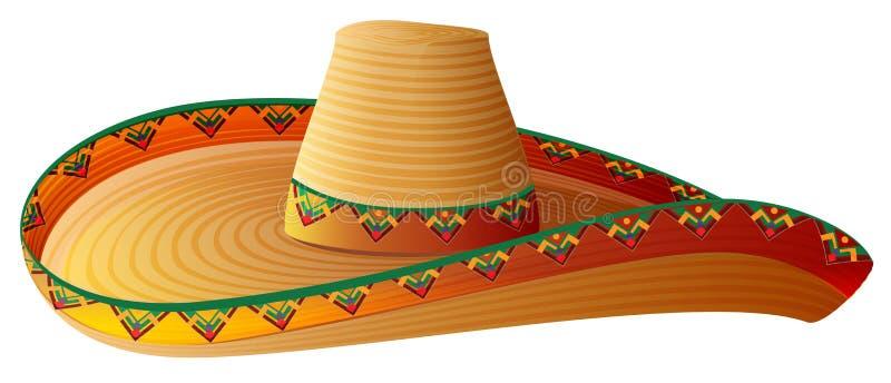 Sombrero Meksykański Słomiany kapelusz z szerokimi marginesami royalty ilustracja