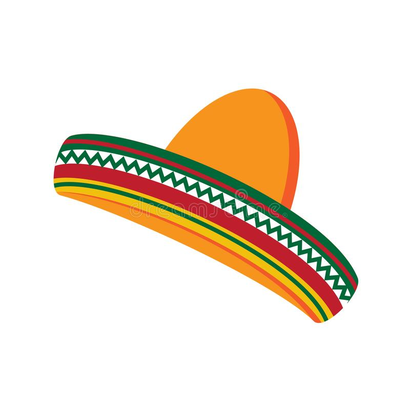 sombrero Mexicaanse hoed, vectorillustratie Cinco DE Mayo royalty-vrije illustratie
