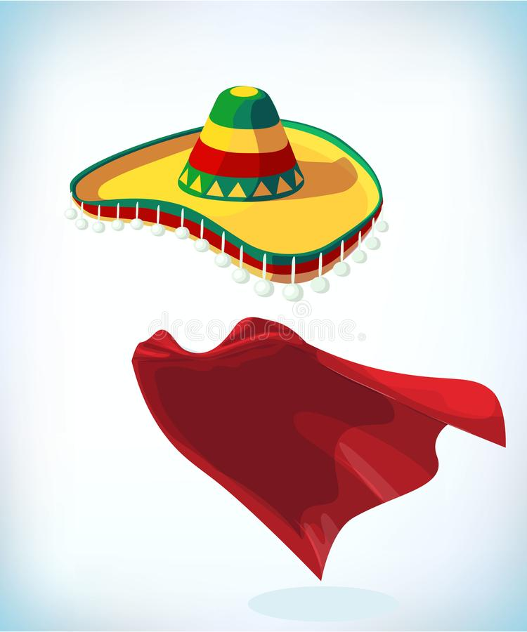 Sombrero Mexican hat. Masquerade costume headdress. Carnival or Halloween mask. Cartoon Vector illustration. Sombrero Mexican hat. Masquerade costume headdress royalty free illustration