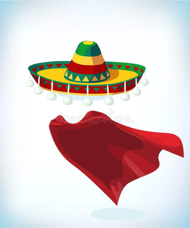Sombrero Mexican hat. Masquerade costume headdress. Carnival or Halloween mask. Cartoon Vector illustration. Sombrero Mexican hat. Masquerade costume headdress stock illustration