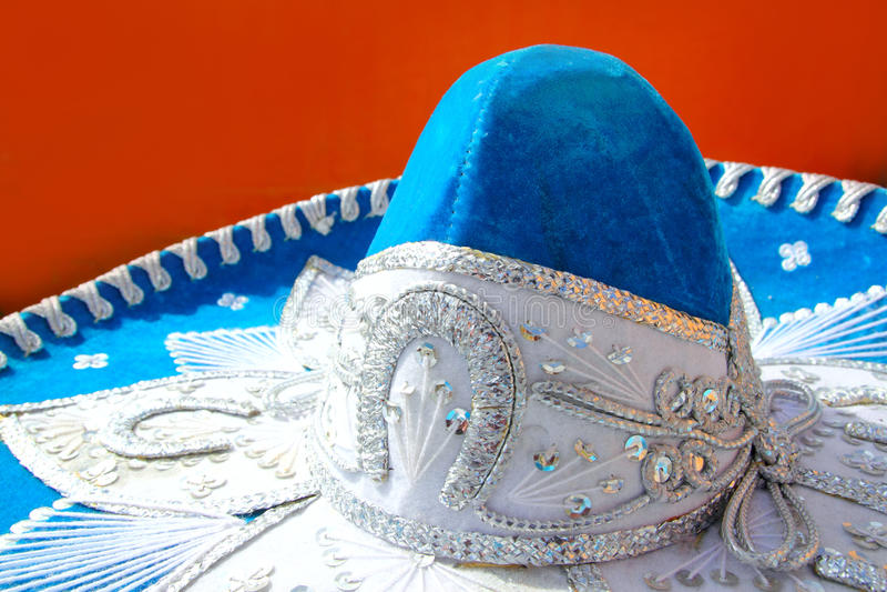 Sombrero mexicano azul del mariachi de Charro imagenes de archivo