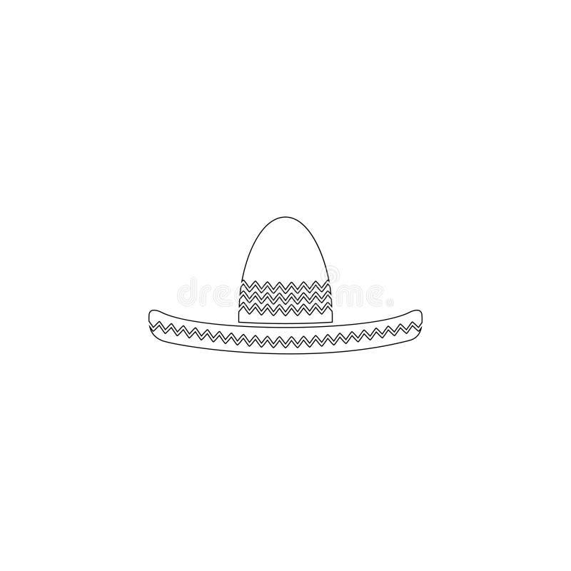 Sombrero mexicano del sombrero Icono plano del vector stock de ilustración