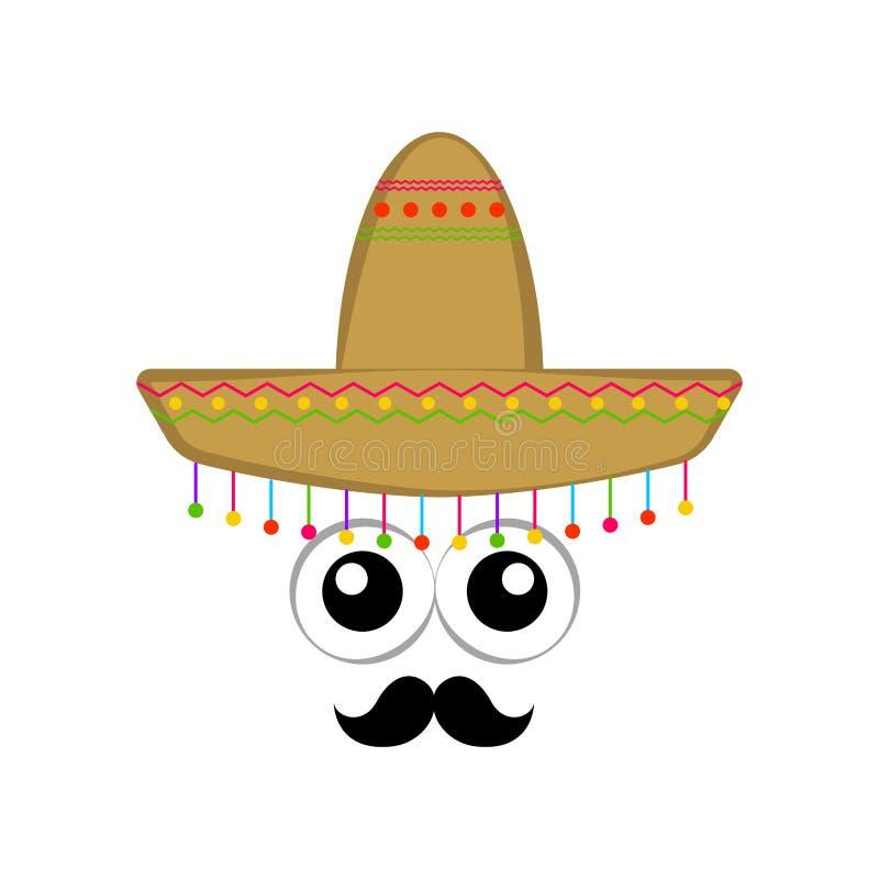 Sombrero mexicano tradicional con los ojos de la historieta libre illustration