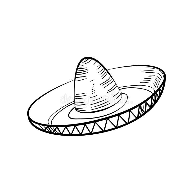 Sombrero mexicano tradicional del bosquejo ilustración del vector