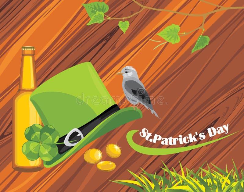 Sombrero, monedas y cerveza del día del St. Patricks en el de madera stock de ilustración