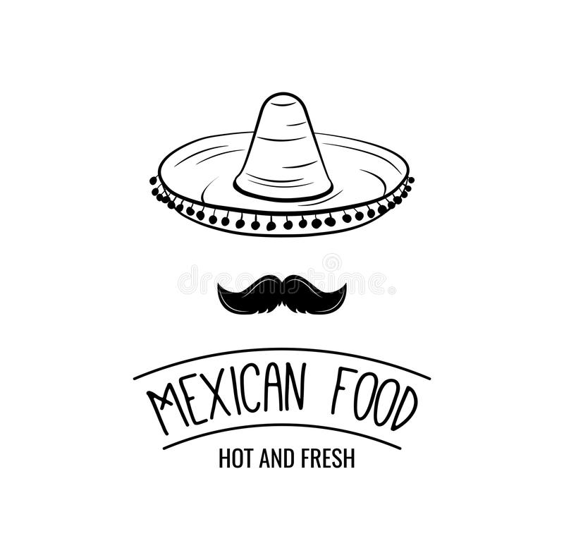 Sombrero and mustache. Mexican food. Mexican traditional cuisine. Vector illustration. stock illustration