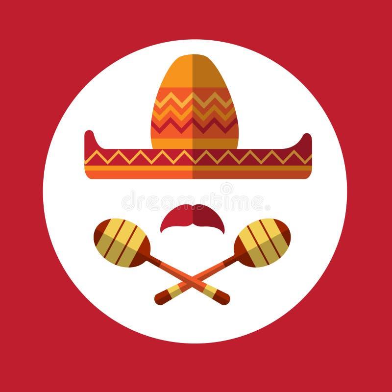 Sombrero Mustache Mexican Traditional Hat Maraca. Icon Flat Vector Illustration vector illustration
