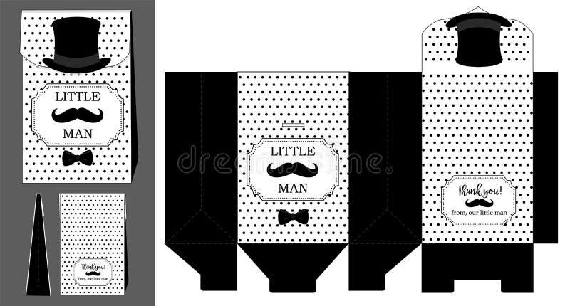 Sombrero negro, bigote y corbata de lazo Plantilla imprimible para el pequeño cumpleaños del ` s del hombre stock de ilustración