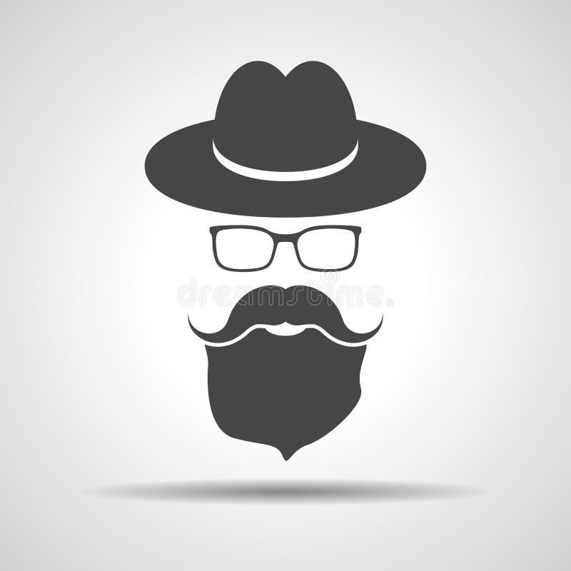 Sombrero negro con el bigote, la barba y los vidrios aislados en vagos grises stock de ilustración
