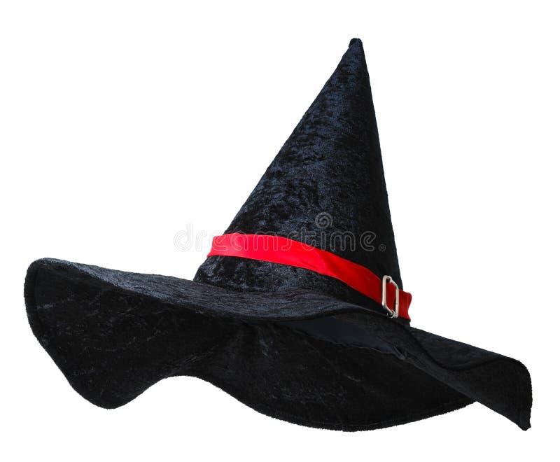 Sombrero negro de la bruja con la tira roja fotos de archivo libres de regalías