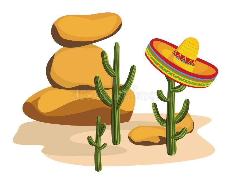 Sombrero op Cactus vector illustratie