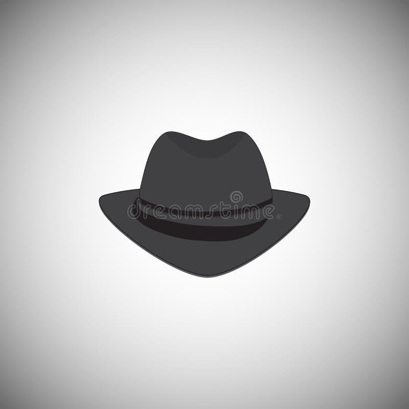 Sombrero para hombre gris del vintage con un borde El tocado está en el estilo de la mafia ilustración del vector