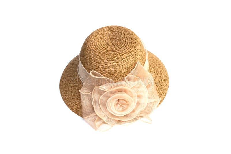 Sombrero para la señora o sombrero de paja bonito con la flor foto de archivo libre de regalías