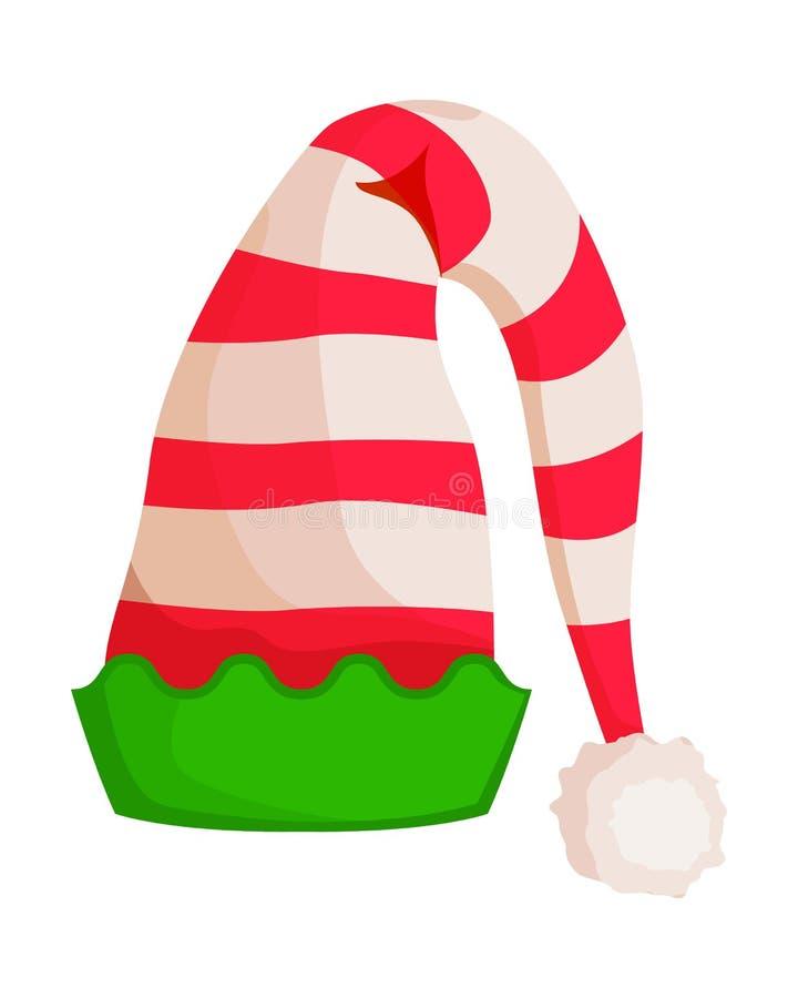 Sombrero rayado duende con el ajuste ondulado verde aislado stock de ilustración