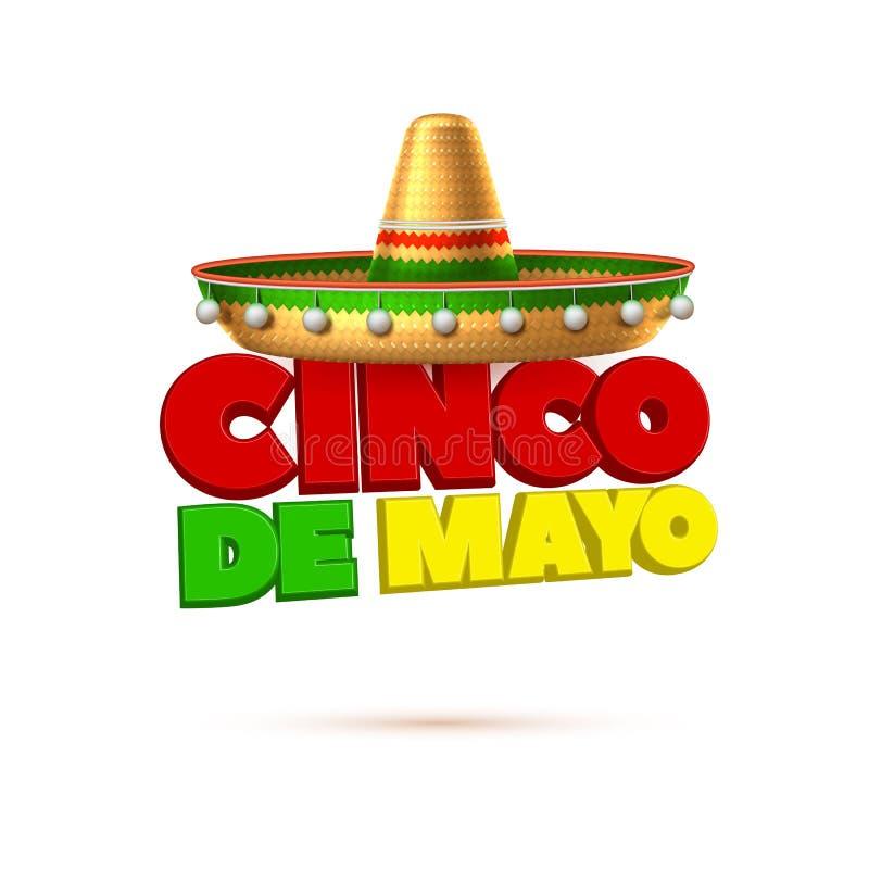 Vector sombrero 3d mexican hat cinco de mayo. Sombrero realistic mexican hat. 3d cinco de mayo festival holiday celebration object. Spanish latin fiesta vector illustration