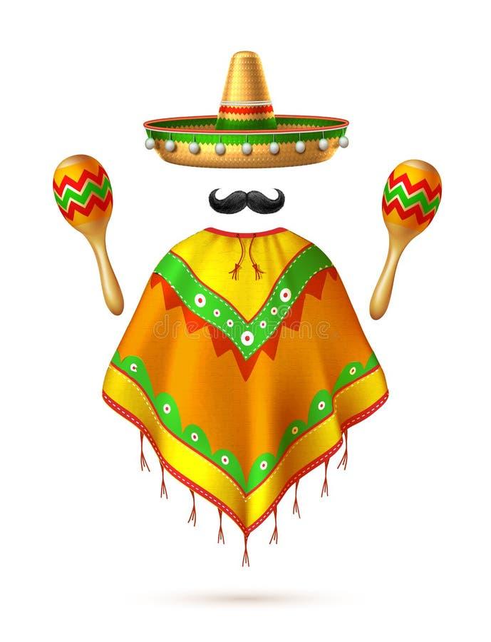 Vector sombrero mexican hat mustache cinco de mayo. Sombrero realistic mexican hat mustache poncho and maracas man silhouette. 3d cinco de mayo festival vector illustration