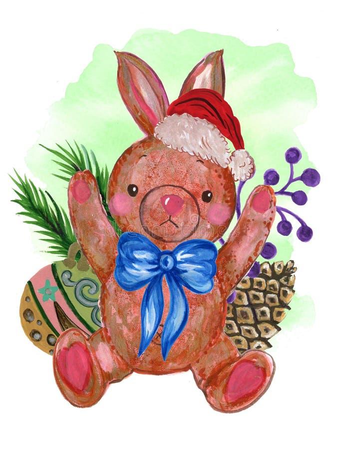Sombrero rojo de Santa Claus de la acuarela y mano retra p del conejo del juguete de la bufanda ilustración del vector